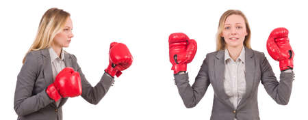 Woman businesswoman with boxing gloves on white Stock Photo - 83550456