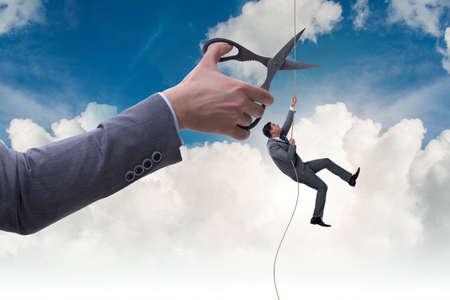 비즈니스 위험 개념에서 사업가