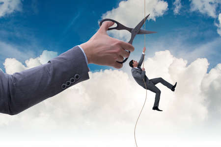 Businessman in business risk concept