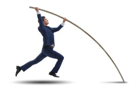 Hombre de negocios en concepto de salto con pértiga Foto de archivo - 84054736