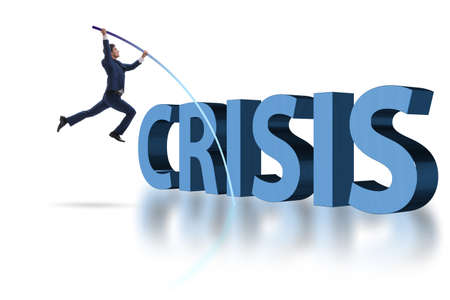 Businessman vault jumping over crisis Standard-Bild