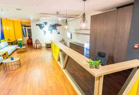 Hotel reception of hostel dormitory Stock Photo