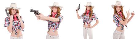 Redheadcowgirl mit der Gewehr getrennt auf Weiß Standard-Bild - 84014986