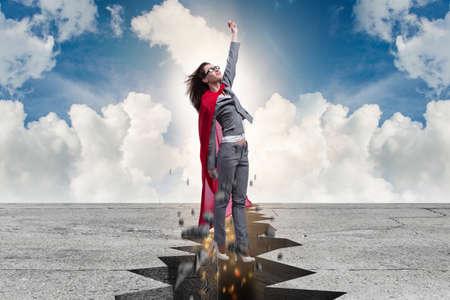 困難な状況からの脱出スーパー ヒーロー実業家 写真素材