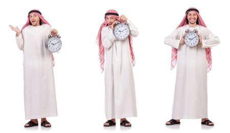 Arab man in time concept on white 스톡 콘텐츠