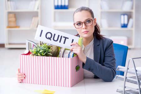 彼女の仕事から辞任実業家 写真素材