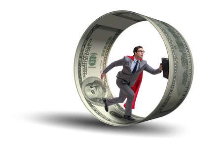 Zakenman in hamsterwiel die dollars achtervolgen
