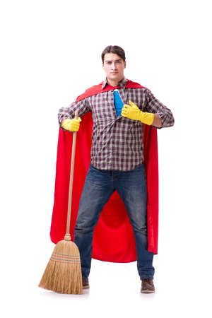 Super hero cleaner isolated on white Stock Photo