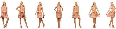 Femme à la mode semble isolé sur blanc Banque d'images - 84400388