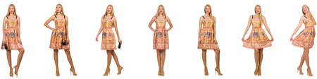 Frau in der Mode sieht isoliert auf weiß Standard-Bild - 84400388