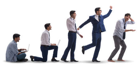 Business concept with man progressing through stages