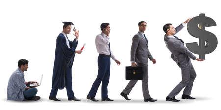 단계를 통해 진행하는 남자와 비즈니스 개념