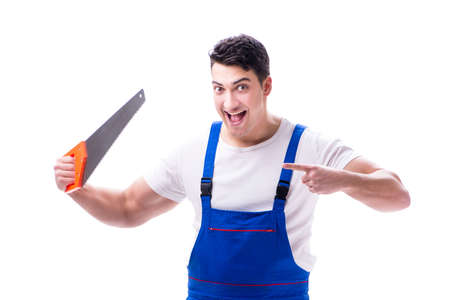 Man repairman with hand saw on white background isolated Stock Photo