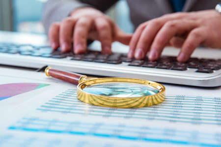 Financiënberoeps die aan toetsenbord met rapporten werken