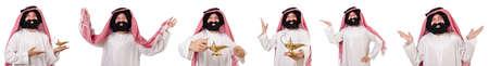 白い背景に孤立したひげのアラブ