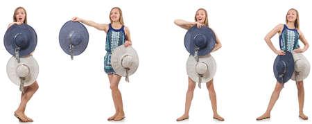 Collage de femme avec chapeau panama isolé sur blanc Banque d'images - 85343403