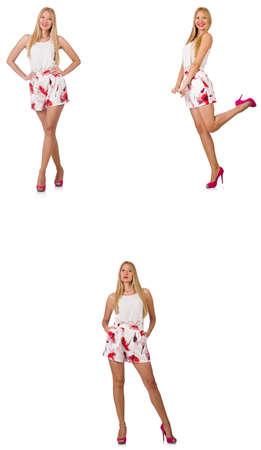 Femme à la mode semble isolé sur blanc Banque d'images - 85343406