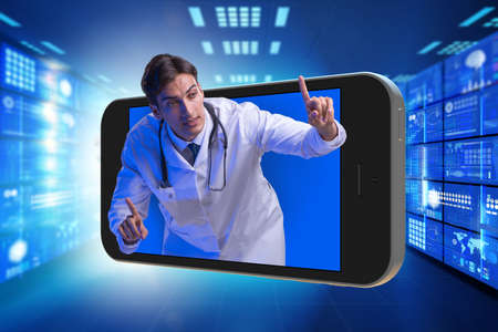 Telemedicine concept with doctor and smartphone Reklamní fotografie