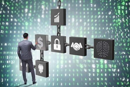 Businessman in blockchain cryptocurrency concept Zdjęcie Seryjne - 85889973