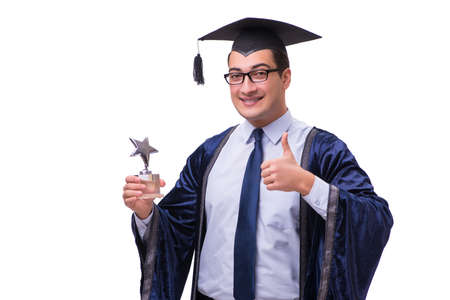 Young man student graduating isolated on white