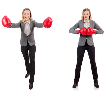 Woman businesswoman with boxing gloves on white Stock Photo - 85851288