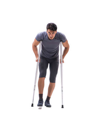 Young patient athlete sportsman suffering an injury trauma with Stock Photo