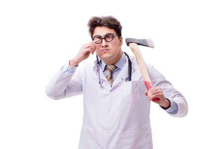 Funny doctor with axe isolated on white