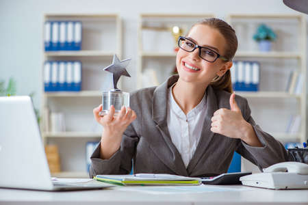 Female businesswoman boss accountant working in the office Foto de archivo