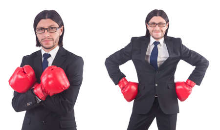Businessman with boxing gloves on white Stock Photo - 86199254