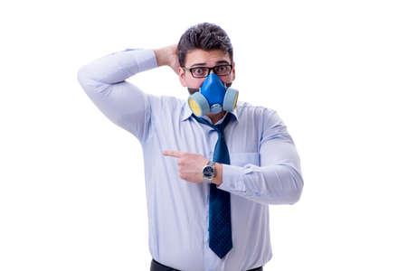지나치게 백인에 고립 된 나쁜 냄새가 땀이 사업가 스톡 콘텐츠