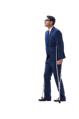 Zakenman die met steunpilaren lopen die op witte achtergrond worden geïsoleerd Stockfoto