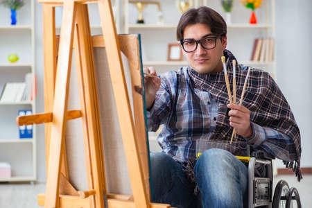 障害者アーティストのスタジオで絵を描いて
