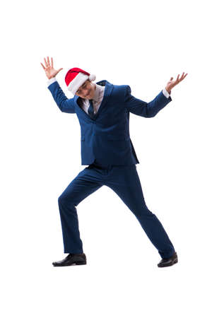 Young busnessman wearing santa hat in christmas concept on white Stock Photo