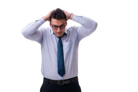 Businessman sweating excessively smelling bad isolated on white Imagens - 87743478