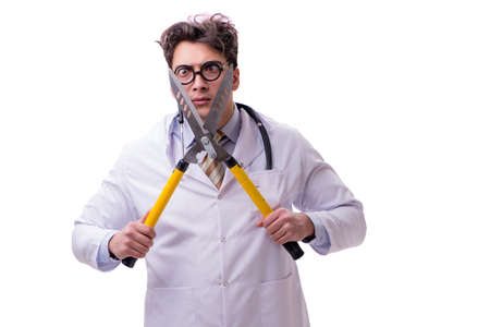 Funny doctor with shears isolated on white 版權商用圖片
