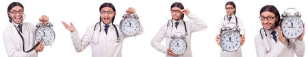 Man doctor with clock isolated on white