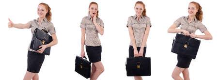 Hübsche junge Angestellte mit Aktenkoffer getrennt auf Weiß Standard-Bild - 87777675