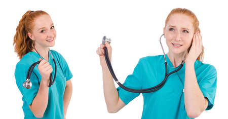 Young medical trainee with stethoscope  isolated on white
