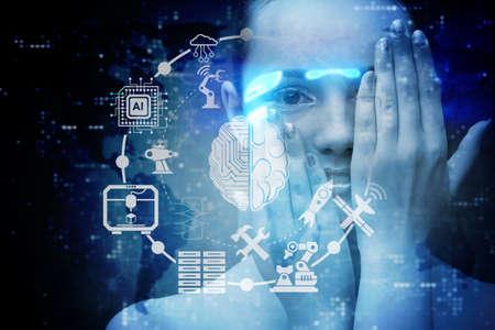 Concepto de inteligencia artificial con mujer