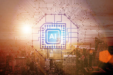Smart city concept powered by artificial intelligence Stock Photo
