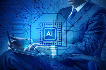 concepto de inteligencia artificial con el empresario
