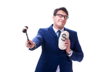 Lawyer with a gavel and a moneybag money bad isolated on white Foto de archivo