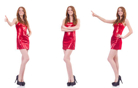 Woman in red dress isolated on white background Stock Photo