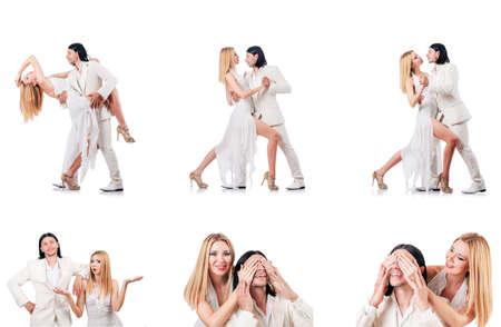 Paar dansende dansen op witte achtergrond worden geïsoleerd die Stockfoto - 88167028