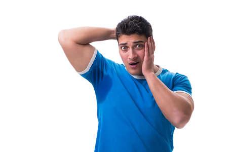 Mens zweten die bovenmatig ruiken slecht geïsoleerd op witte backgrou