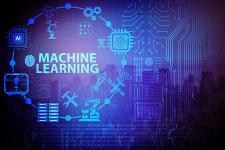 Concept of modern IT technology with machine learning Stock Photo - 89518146