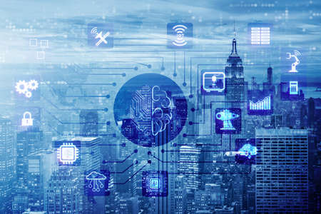 Smart city concept powered by artificial intelligence Archivio Fotografico