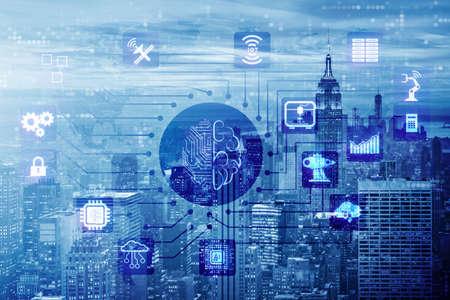 Smart City Konzept angetrieben durch künstliche Intelligenz Standard-Bild - 88684452