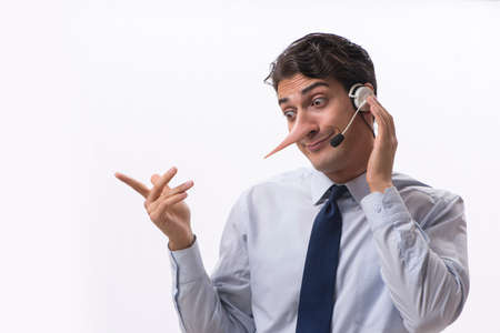 Businessman on the phone lying to his opponent Stockfoto