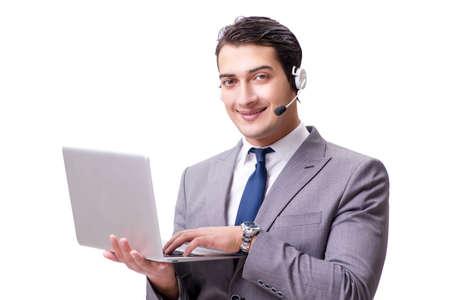 Employé de centre d'appel isolé sur fond blanc Banque d'images - 89728997